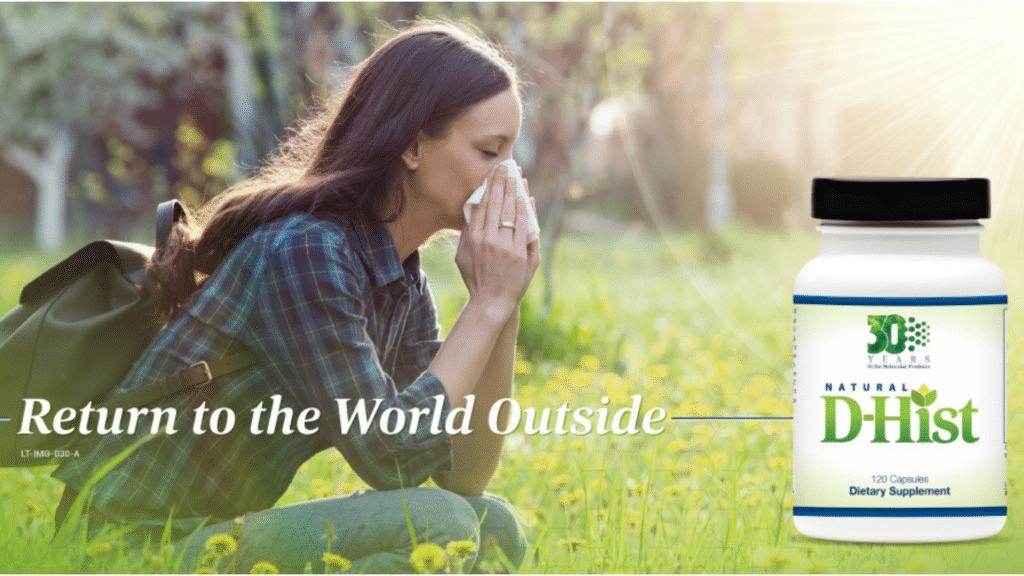 Woman blowing nose in a field advertising d-hist allergy relief supplement